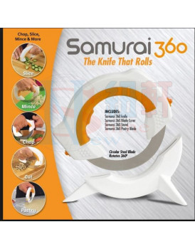 New Shine The Samurai 360 Knife Circular Rolling Knife , Stainless Steel Round Wheel Knife to Protect Wrist for BBQ Vegetable Fruit Pizza