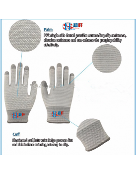 New Shine 13 gauge Nylon Carbon fiber half finger antistatic gloves for ESD protection