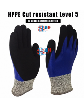 New Shine EN388 4543 HPPE fiber PU Coated Palm Level 5 Cut Resistant Gloves for Industry safety work
