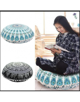 New Shine Household Application - bedding Series : New Shine Round Mandala Tapestry Floor Pillows Meditation Cushion Covers Sitting Ottoman Poufs Decorative Throw Pillow cases Round Boho Pillow Shams, Only Floor Pillows Cover without Filler