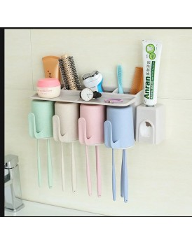New Shine Bathroom product Dust-proof Wheat Straw Toothbrush Holder with 2 Cups , 3 cups , 4 cups for Bathroom Accessories Makeup Storage Box Holder 4 Racks