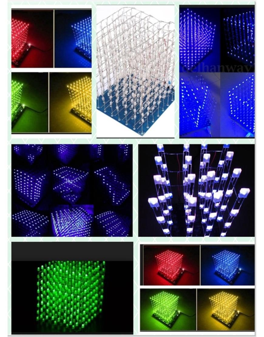 1PCS 3D LightSquared DIY Kit 8x8x8 3mm LED Cube Green Ray LED
