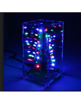 New Shine 3D Christmas tree LED flashing light DIY Kit Red Green Flash Circuit Electronic Fun Suit