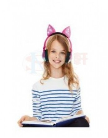 New Shine Fox shape  new design cute fox headphone with glowing lights with wire and battery