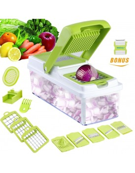 New Shine Vegetable Slicer Dicer  Food Chopper Cuber Cutter, Cheese Grater Multi Blades for Onion Potato Tomato Fruit Extra Peeler Included